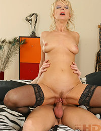 Mature MILF is Riding on Cock in Bed She Enjoys Young Cocks Sticking Deep into Her Aged Pussy to Creampie It